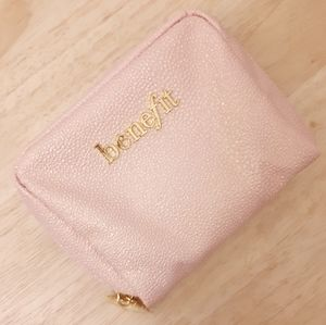*NEW*BENEFIT Gold Pink Make-up Pouch Zip Bag